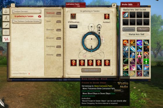Age of Wushu Meridian System window