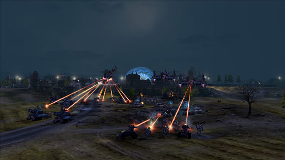 End of Nations battle at night