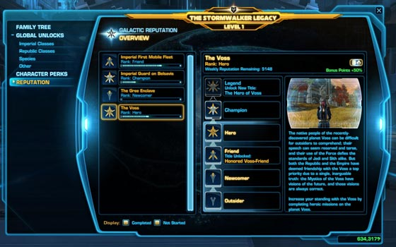 Reputation Points in SWTOR